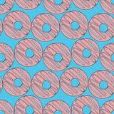 Modèle sans couture de beignets Illustration lumineuse de bande dessinée pour le design de carte, le menu, le tissu et le papier  illustration stock