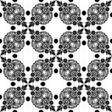 Modèle sans couture de belles fleurs noires et blanches de vintage de vecteur Image stock