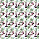 Modèle sans couture de betteraves, betterave avec des illustrations d'aquarelle, modèle de betterave avec des feuilles et racine  illustration stock