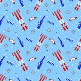 Modèle sans couture de biathlon Illustration de vecteur Texture de répétition d'extérieur d'hiver Copie de calibre d'activités Co illustration de vecteur