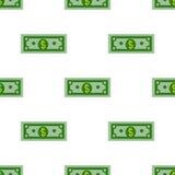 Modèle sans couture de billet d'un dollar sur un fond blanc Vecteur plat de conception Photos libres de droits