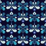Modèle sans couture de boho ethnique Drapeau des fleurs Background Texture de griffonnage Broderie sur le tissu Motif folklorique illustration libre de droits