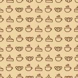 Modèle sans couture de bonbons se composant du croissant, tasse de thé, cak Photos stock