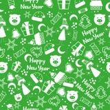 Modèle sans couture de bonne année avec l'arbre de nouvelle année, les étoiles, le présent, les bonbons et la petite fille Milieu illustration libre de droits
