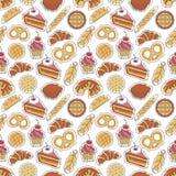 Modèle sans couture de boulangerie illustration stock