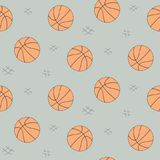 Modèle sans couture de boule de basket-ball pour le fond, Web, éléments de style Croquis tiré par la main Collection de vecteur d illustration stock