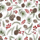 Modèle sans couture de branches d'arbre de Noël Cône, baies illustration libre de droits