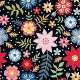 Modèle sans couture de broderie avec les fleurs et les feuilles écervelées colorées Copie de mode pour le tissu illustration libre de droits