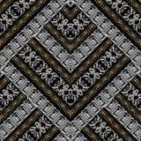 Modèle sans couture de broderie géométrique rayée de méandre Grunge 3d Photos stock
