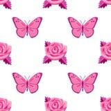 Modèle sans couture de broderie de roses et de papillons illustration de vecteur