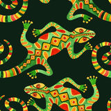 Modèle sans couture de cactus d'aquarelle avec des lézards Images stock