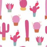 Modèle sans couture de cactus mignon Images stock