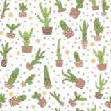 Modèle sans couture de cactus mignon de vecteur illustration libre de droits