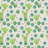 Modèle sans couture de cactus minuscule mignon illustration stock