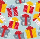 Modèle sans couture de cadeaux de Noël d'illustration de vecteur Images stock