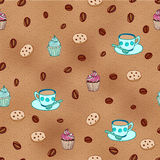 Modèle sans couture de café et de petits gâteaux Image libre de droits