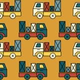 Modèle sans couture de camion de jouet avec le colis Images libres de droits