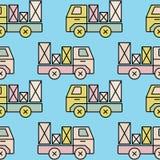 Modèle sans couture de camion de jouet avec le colis Image libre de droits