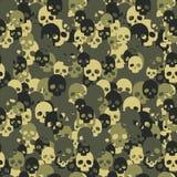 Modèle sans couture de camo de crâne vert de camouflage illustration de vecteur