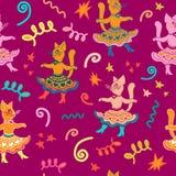 Modèle sans couture de carnaval avec les chats drôles de bande dessinée de danse illustration de vecteur