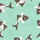Modèle sans couture de carpe chinoise de Koi Fond bleu de vecteur avec des poissons Image stock