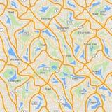 Modèle sans couture de carte de ville, utilisation pour la maquette de conception de voyage Photographie stock libre de droits