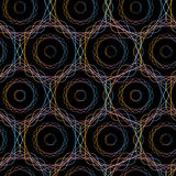 Modèle sans couture de cercles géométriques abstraits d'hexagone, Images stock