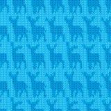 Modèle sans couture de cerfs communs bleus de fil de Knit Image stock