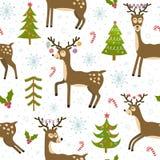 Modèle sans couture de cerfs communs mignons de Noël Photo libre de droits