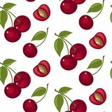 Modèle sans couture de cerise mignonne Bon pour le textile, l'emballage, les papiers peints, etc. Cerises mûres rouges douces d'i Photo libre de droits