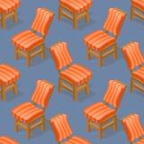 Modèle sans couture de chaise isométrique de bande dessinée Avant et dos Photographie stock