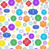 Modèle sans couture de Chakras Fond ésotérique de vecteur Hindouisme, bouddhisme Muladhara, swadhisthana, manipura, anahata, vish illustration de vecteur