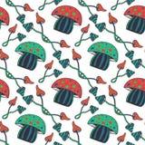 Modèle sans couture de champignons psychédéliques colorés tirés par la main Fond magique de vecteur de griffonnage avec le champi Photographie stock libre de droits