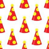 Modèle sans couture de chapeau de partie sur le fond blanc Ensemble de chapeau d'anniversaire Décoration d'amusement de vecteur illustration de vecteur