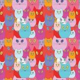 Modèle sans couture de chat de bande dessinée Illustration Images libres de droits