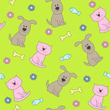 Modèle sans couture de chat et de chien Images stock