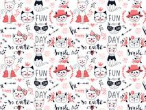 Modèle sans couture de chat de mode de vecteur Illustration mignonne de chaton dedans illustration stock
