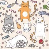 Modèle sans couture de chats d'ute de ¡ de Ð Images libres de droits