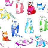 Modèle sans couture de chats drôles illustration de vecteur