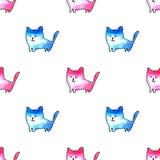 Modèle sans couture de chats drôles illustration stock