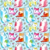 Modèle sans couture de chats et patte illustration libre de droits