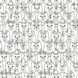 Modèle sans couture de chats mignons Fond noir et blanc Photographie stock