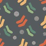 Modèle sans couture de chaussettes avec les cercles criqués illustration de vecteur