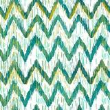Modèle sans couture de chevron d'ikat d'aquarelle Aquarelle verte et bleue Collection ethnique de Bohème illustration de vecteur