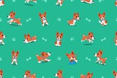 Modèle sans couture de chien de basenji de bande dessinée de vecteur Illustration de Vecteur