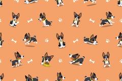 Modèle sans couture de chien de basenji de personnage de dessin animé de vecteur Illustration Stock