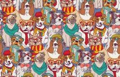 Modèle sans couture de chien de hippie mignon de mode illustration stock
