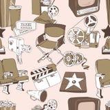 Modèle sans couture de cinéma de griffonnage Images libres de droits