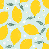 Modèle sans couture de citron avec des fleurs sur le fond bleu-clair Illustration de vecteur Photographie stock
