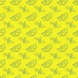 Modèle sans couture de citron et de menthe Photographie stock libre de droits